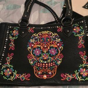 Montana West Sugar Skull Large Black Handbag
